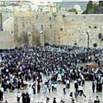 Prayers at Western Wall of Temple in Jerusalem