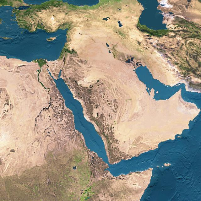Satellite photographs of Israel and the Middle East